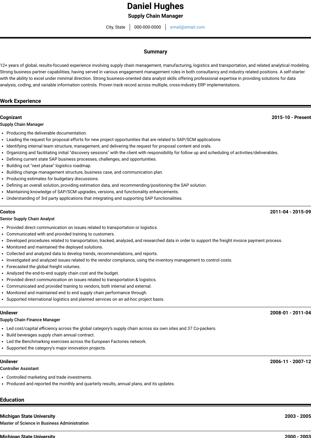 Supply Chain Manager Resume Sample and Template