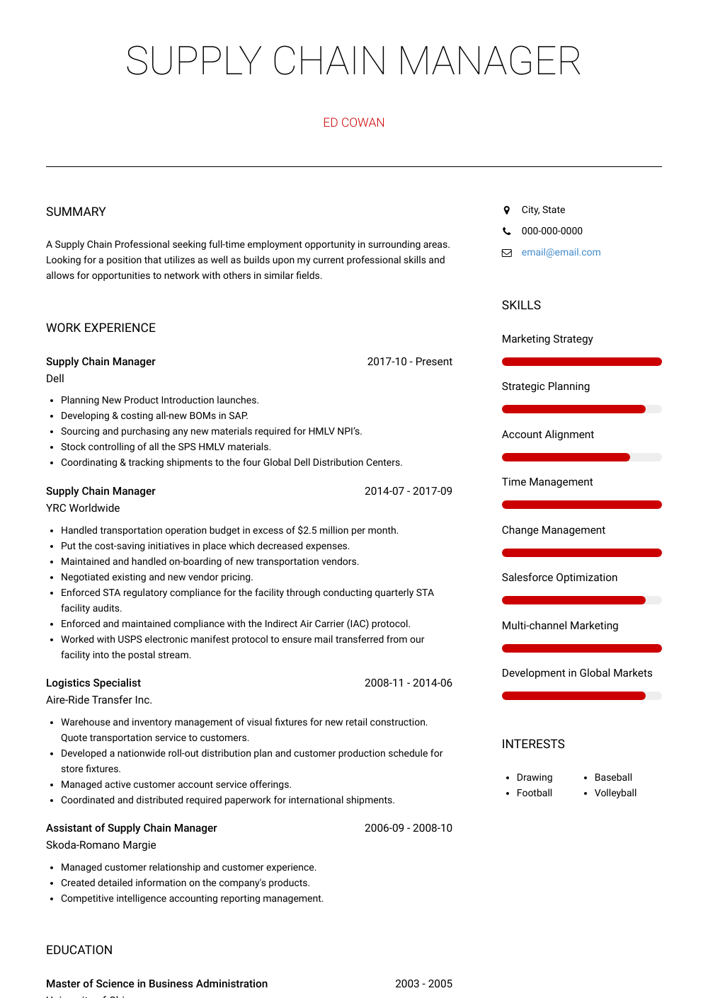Supply Chain Manager Resume Sample