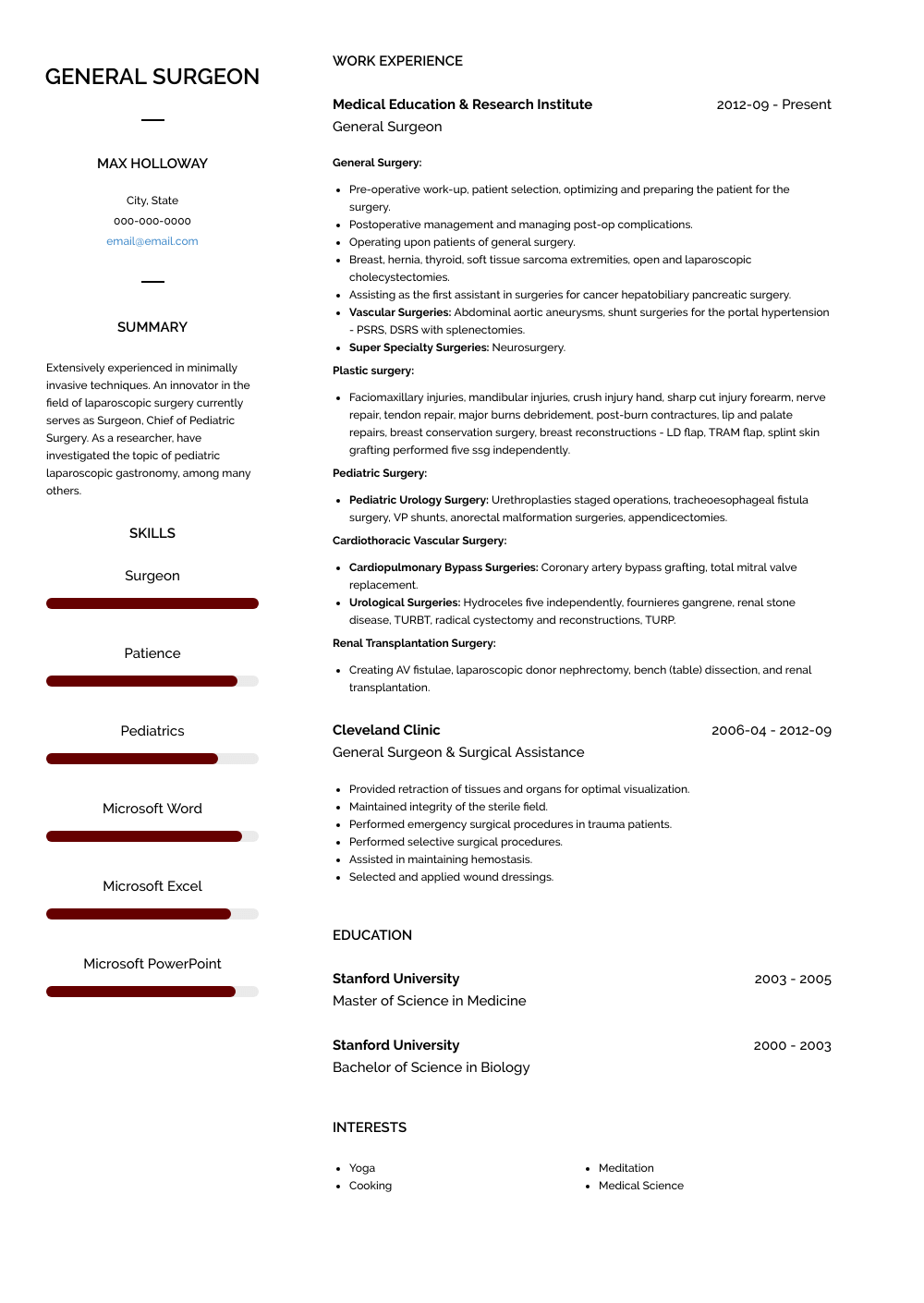 Surgeon Resume Sample