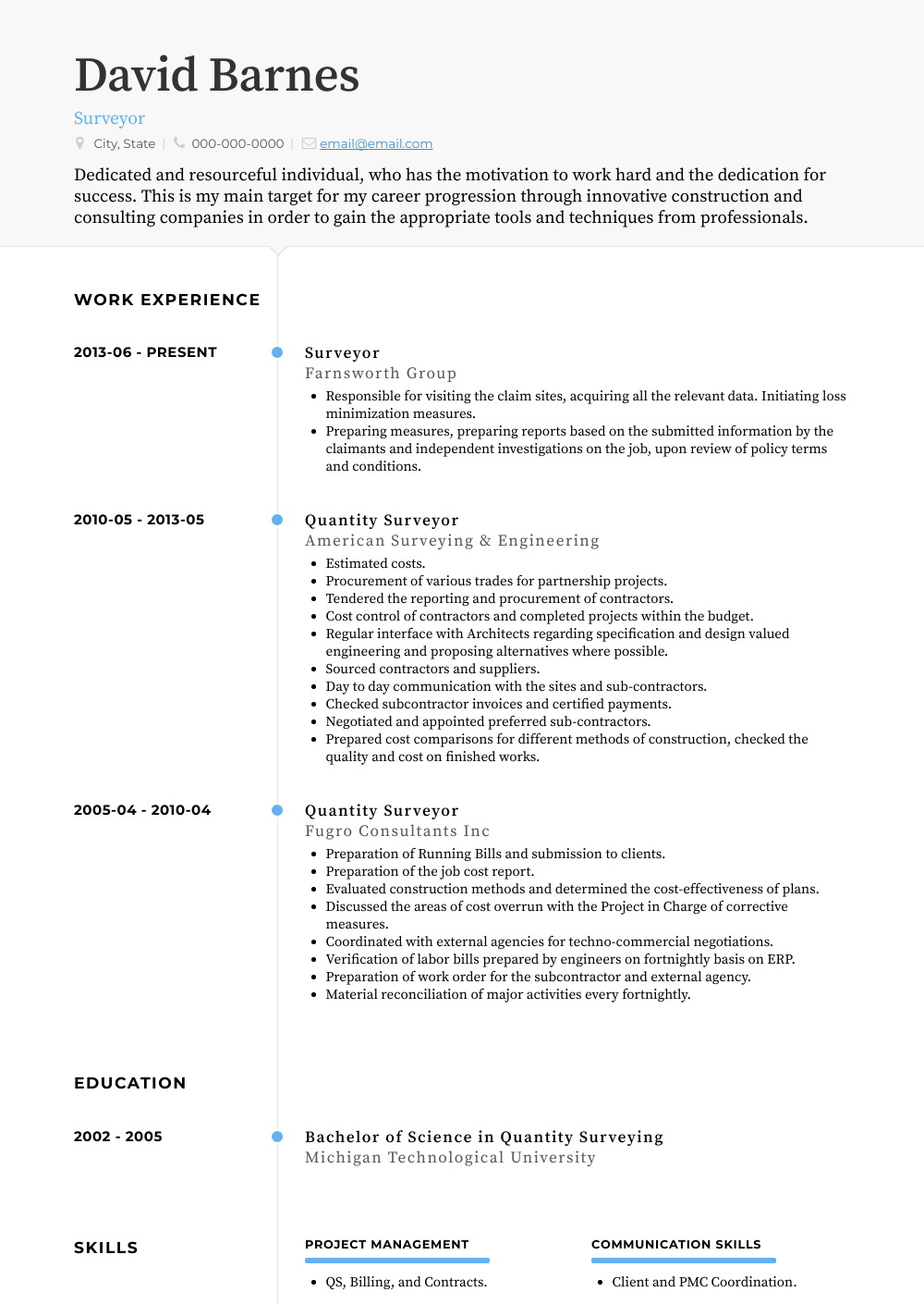 Surveyor Resume Sample and Template