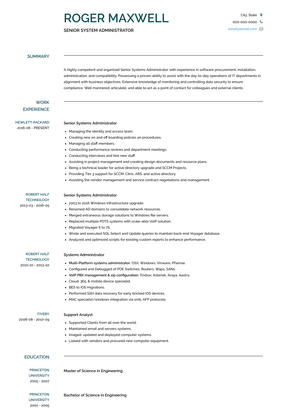 Senior Systems Administrator  Resume Sample and Template