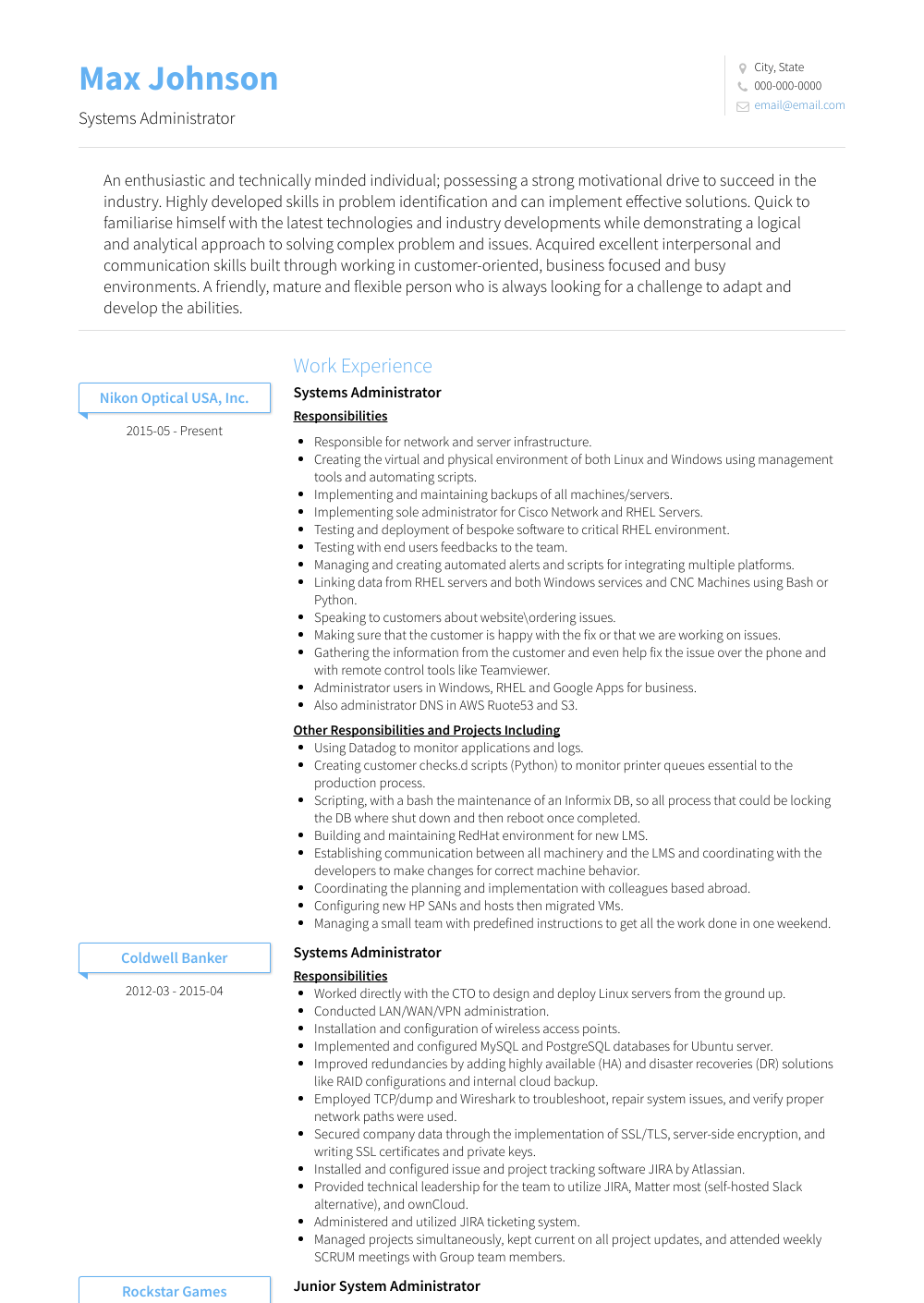 Systems Administrator Resume Sample and Template