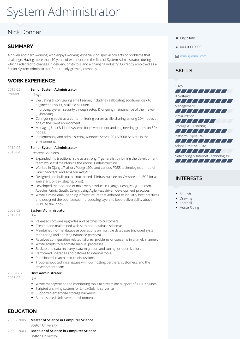 System Administrator Resume Sample and Template