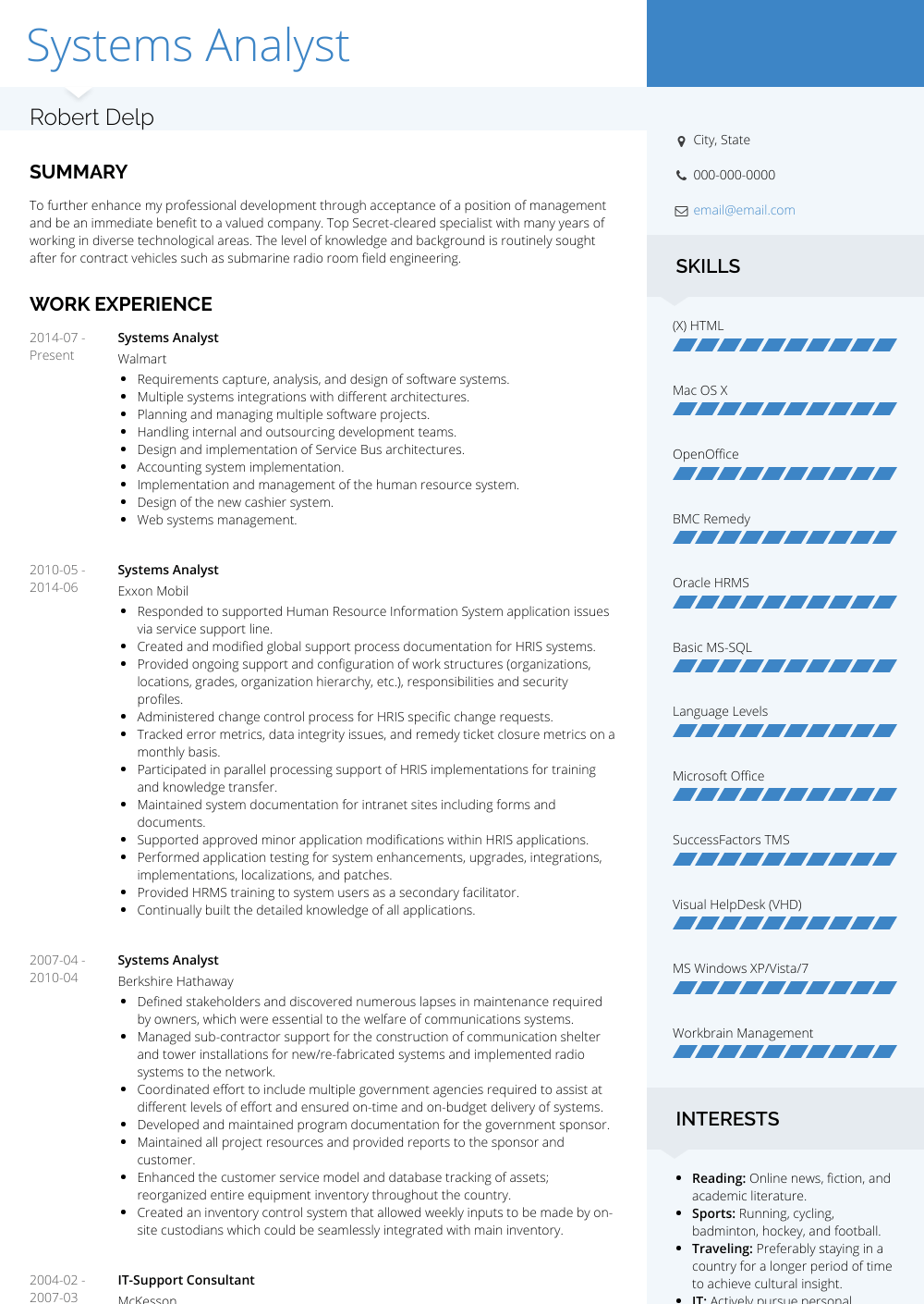 Systems Analyst Resume Sample and Template