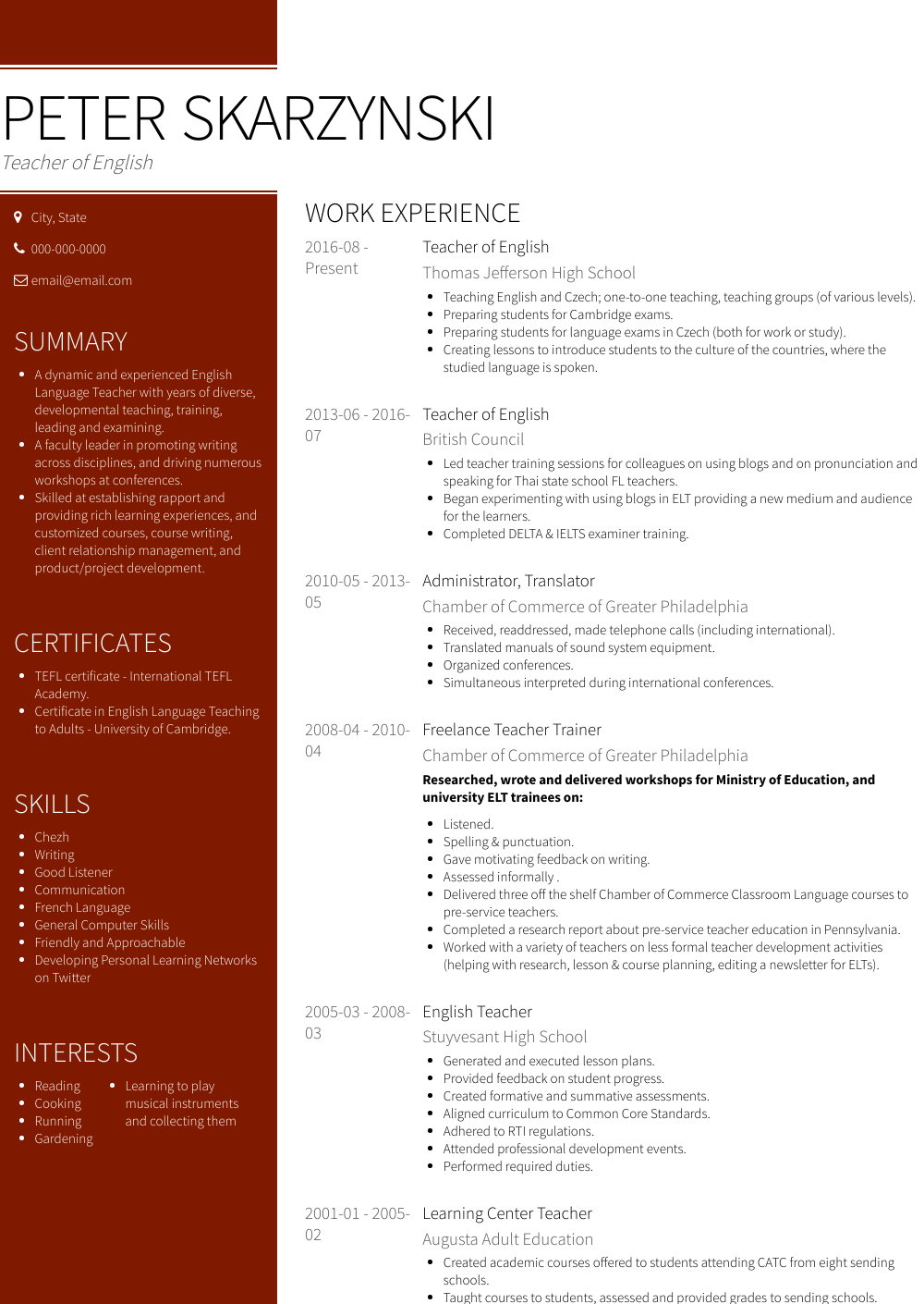 English Teacher - Resume Samples & Templates | VisualCV