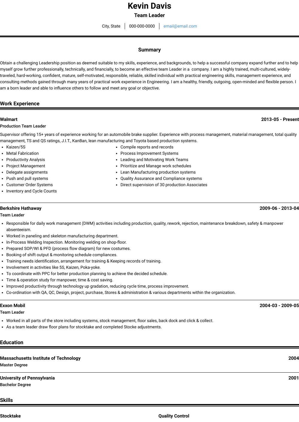 Team Leader Resume Sample and Template