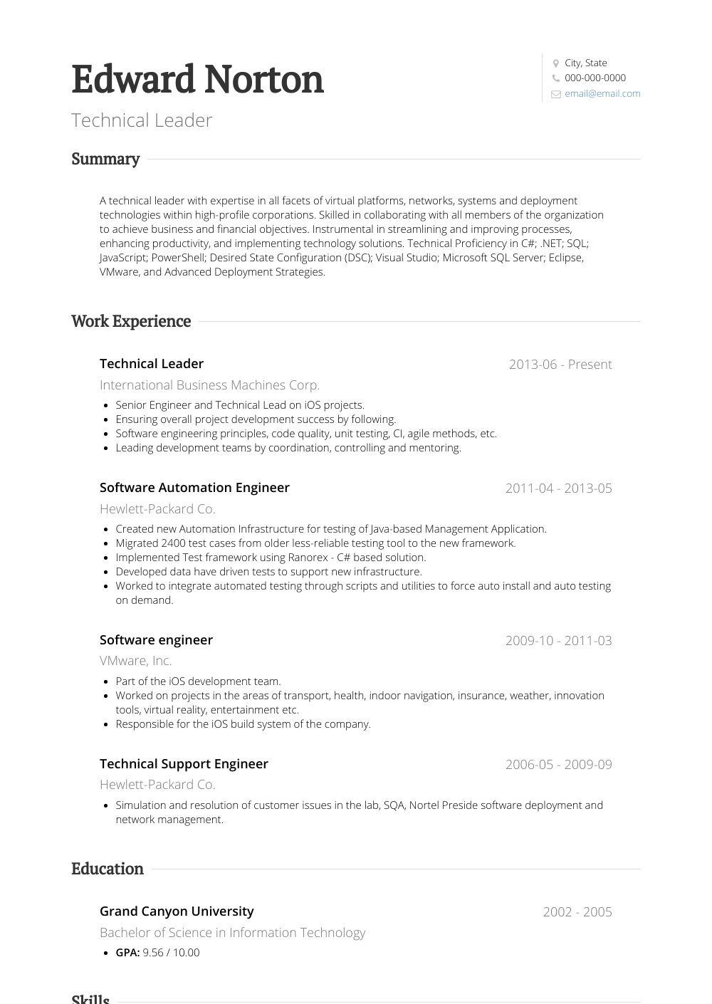 Technical Leader Resume Sample and Template