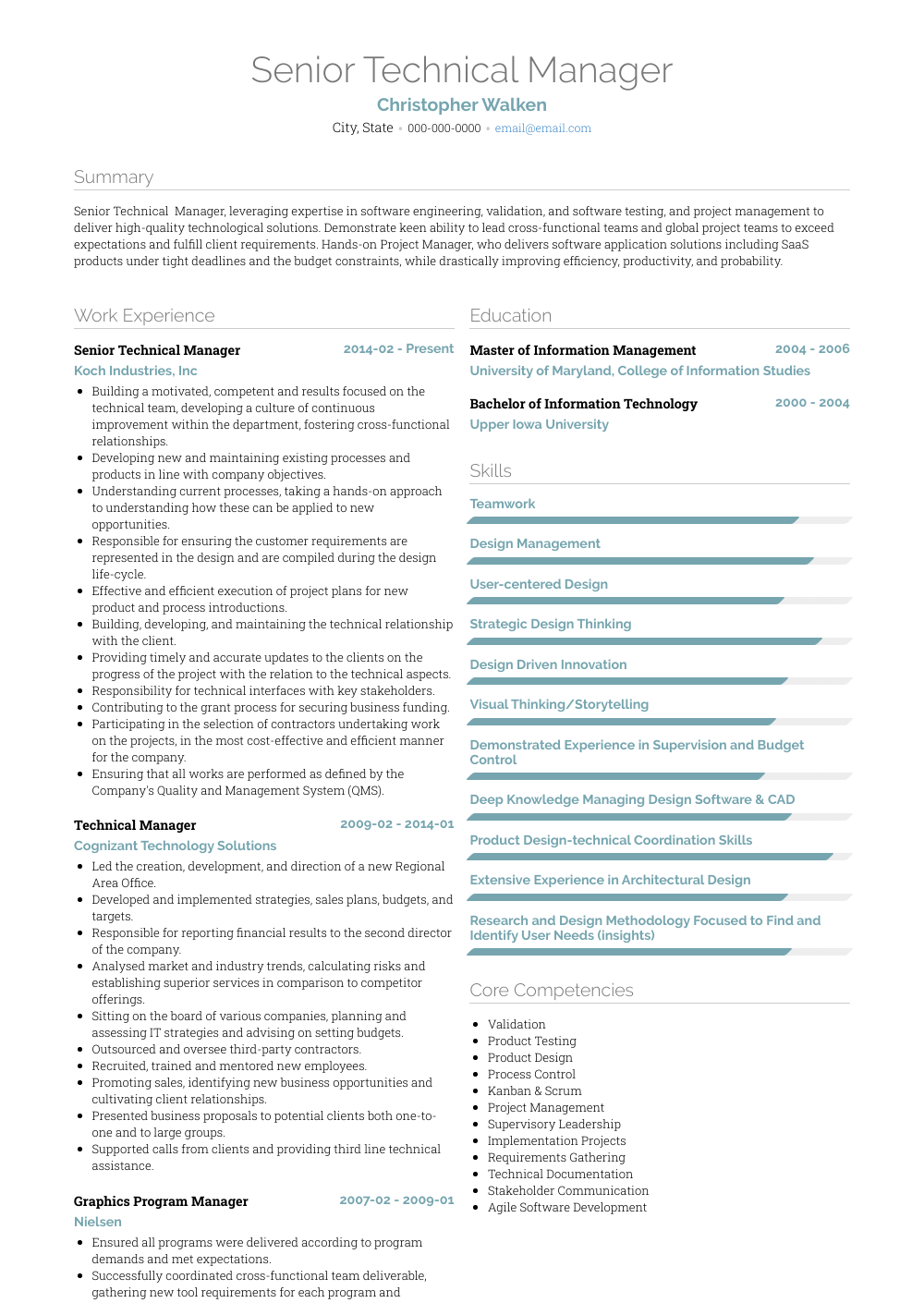Technical Manager Resume Samples Amp Templates Visualcv