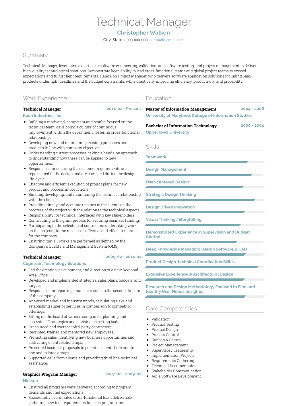 Technical Manager Resume Sample and Template