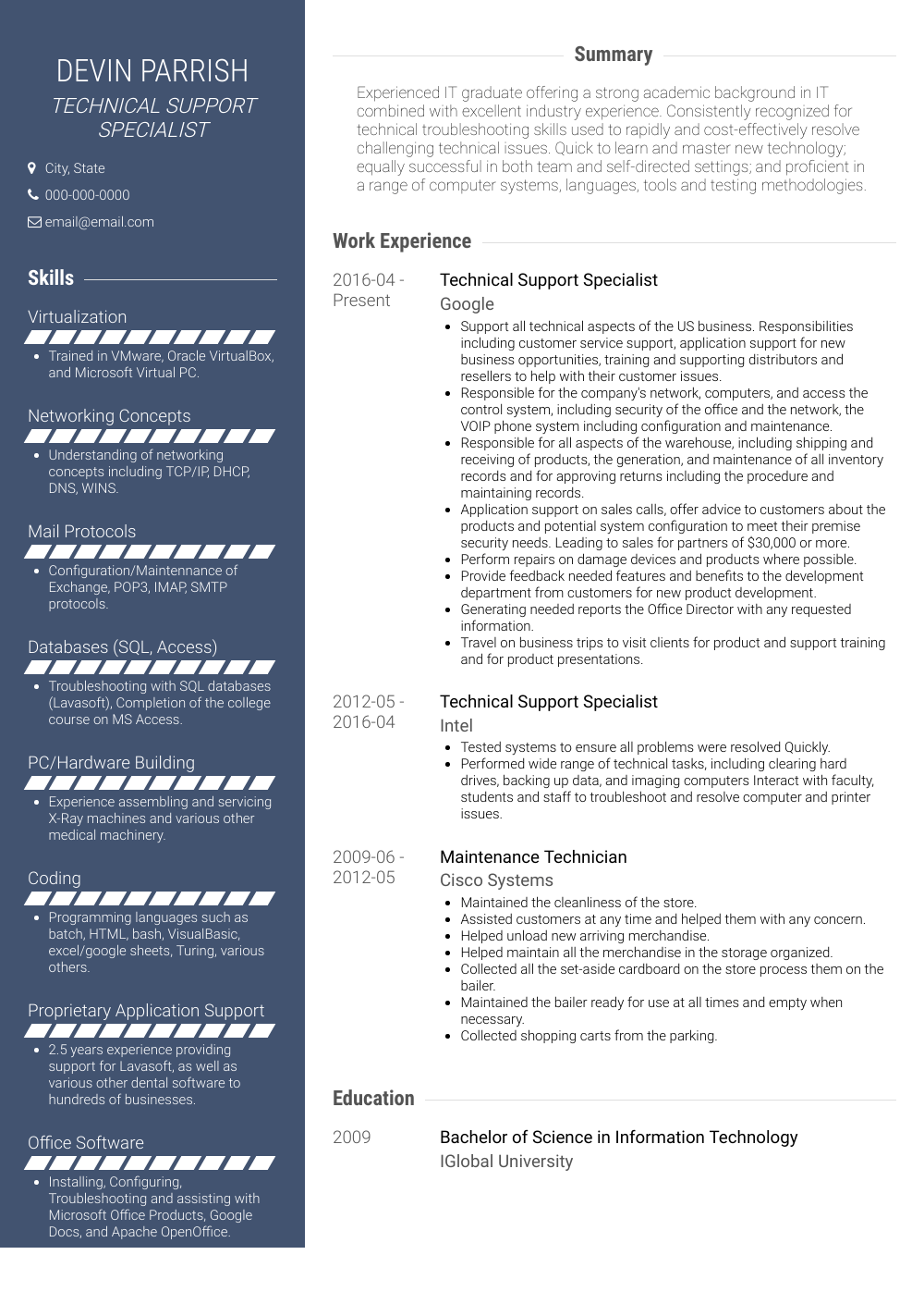 Technical Support  Resume Samples