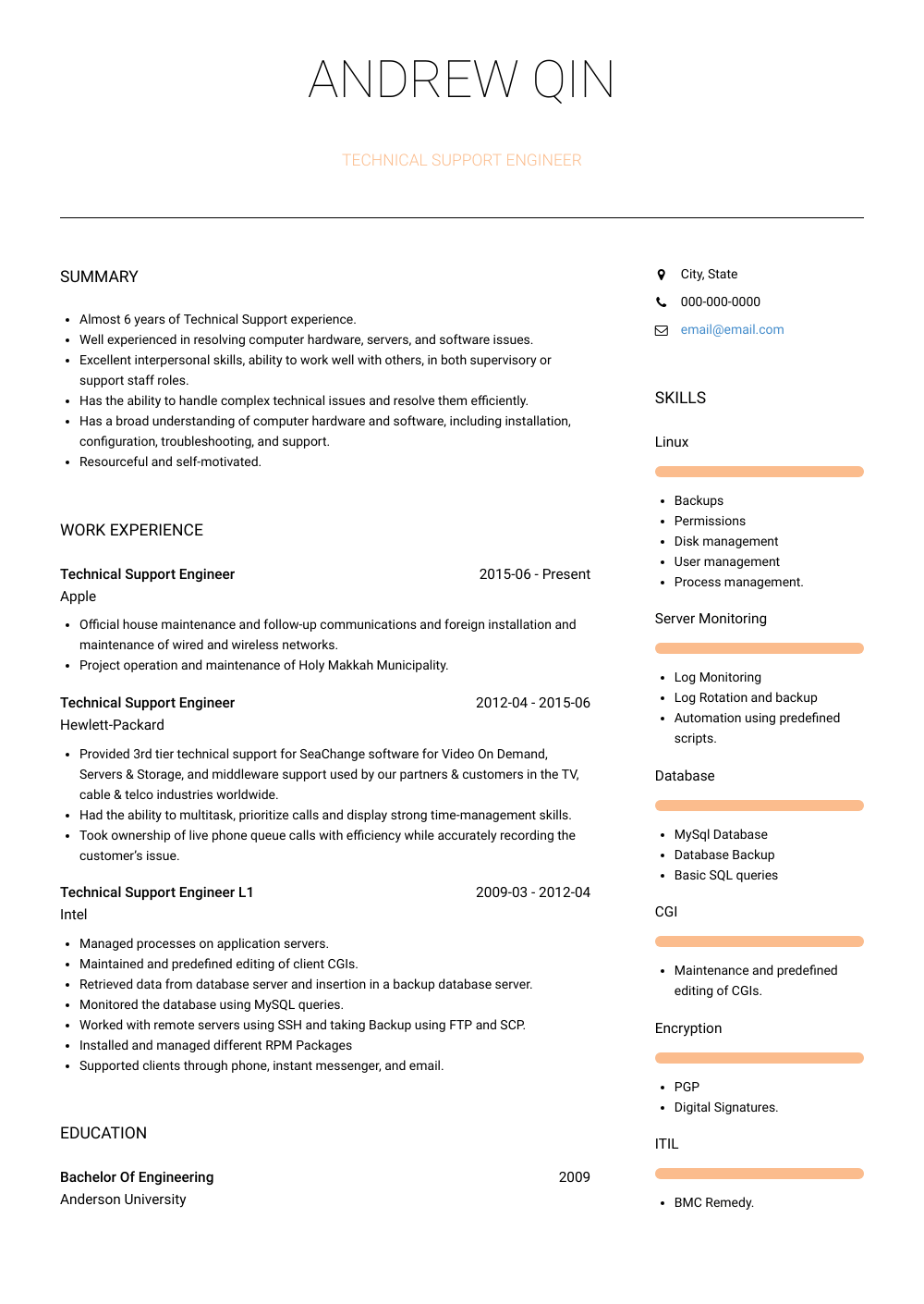 technical support engineer resume