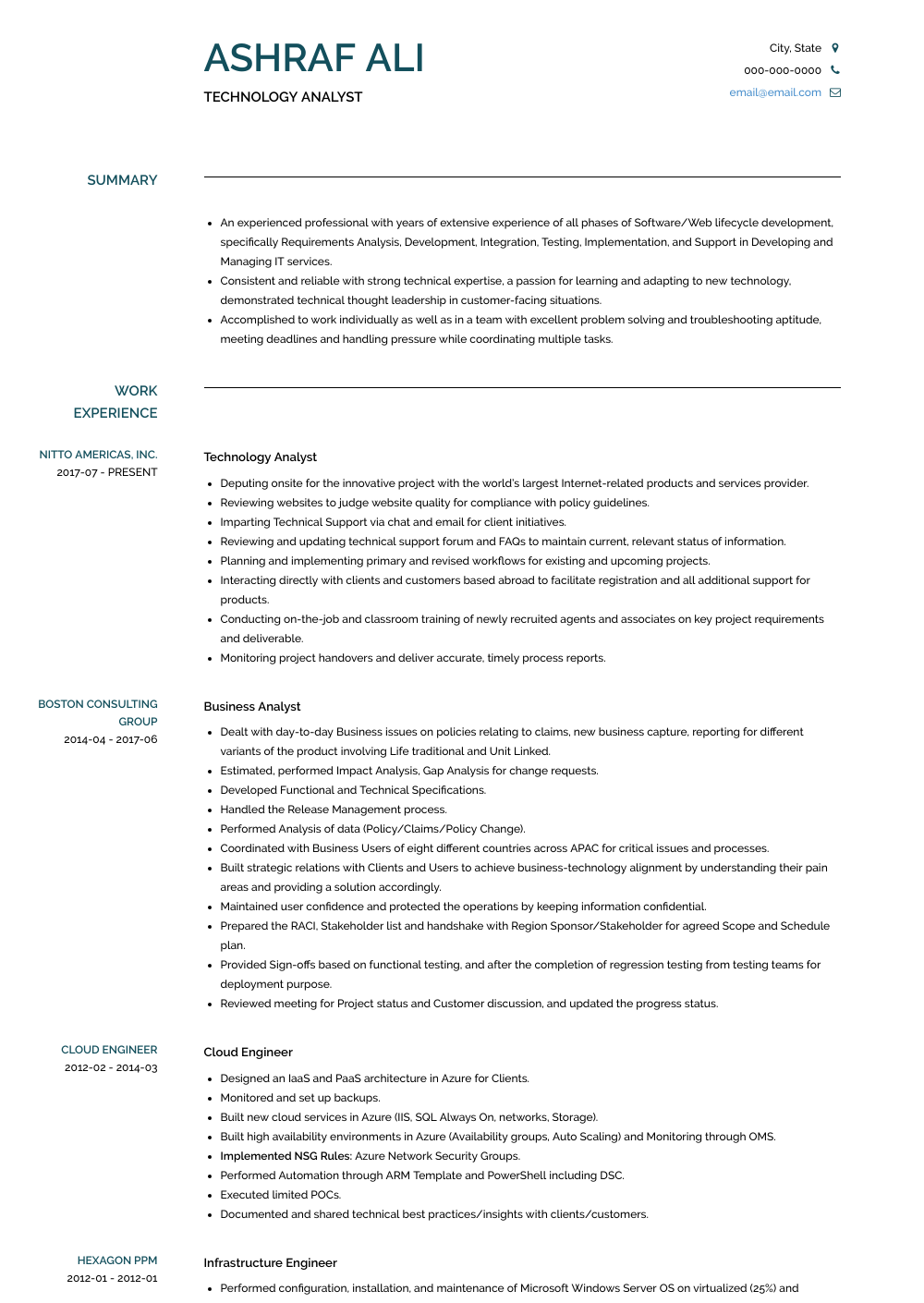 Technology Analyst - Resume Samples & Templates | VisualCV