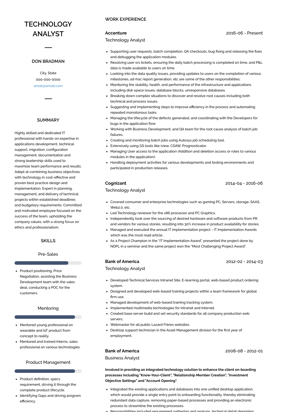 Technology Analyst Resume Sample