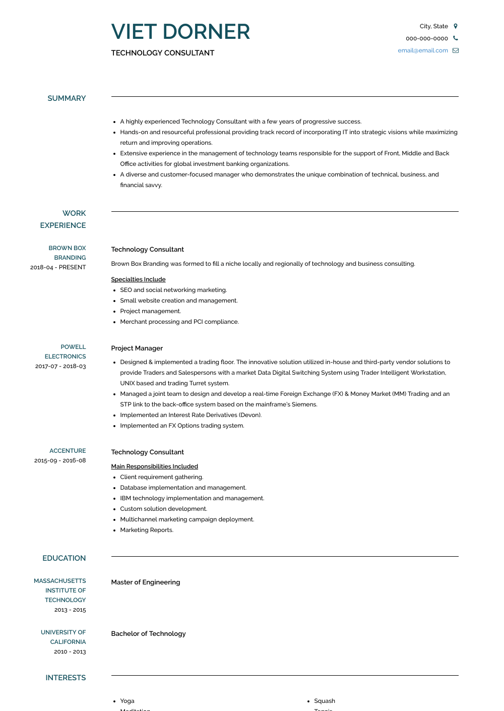 Technology Consultant Resume Samples And Templates Visualcv