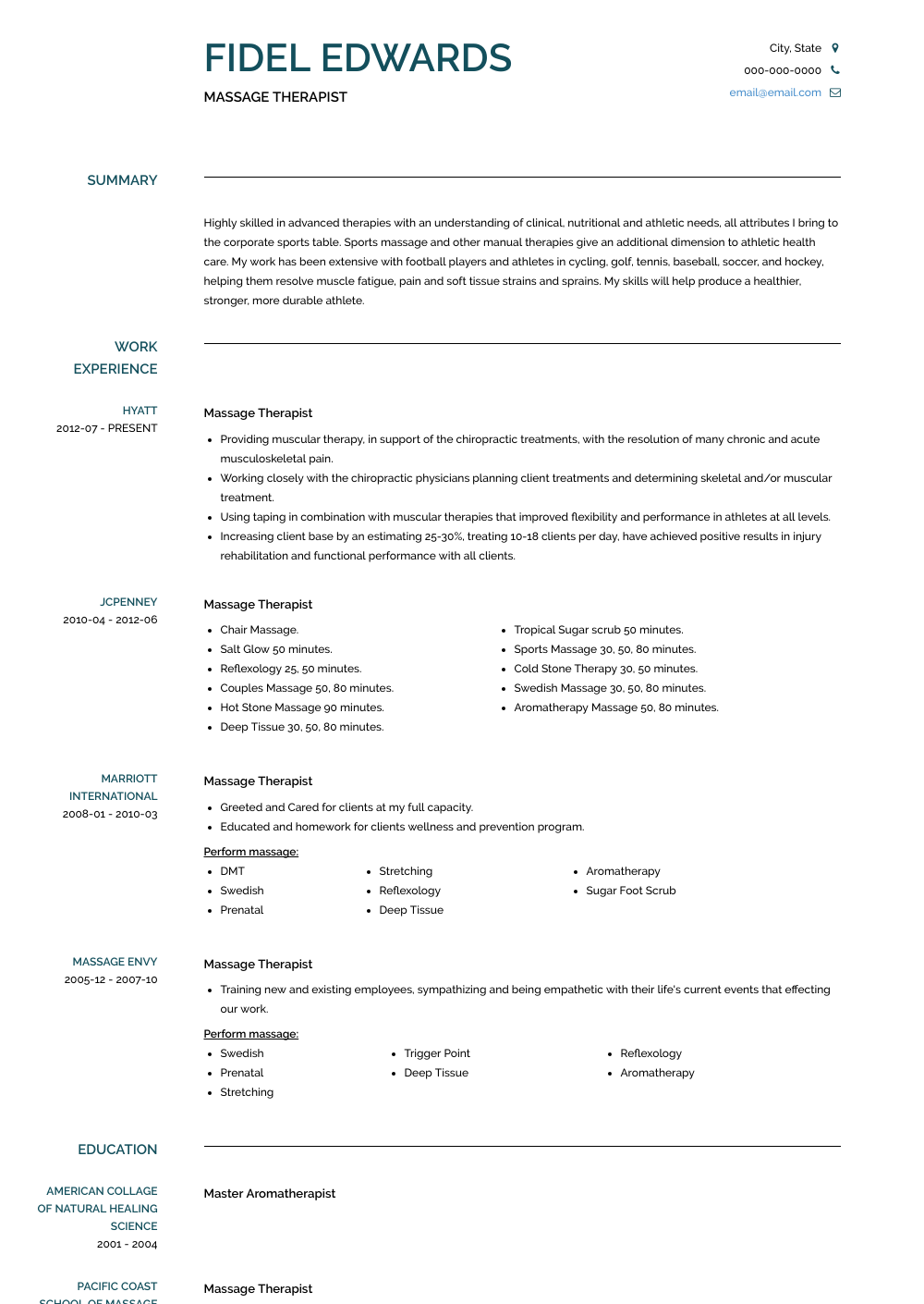 Massage Therapist Resume Sample and Template