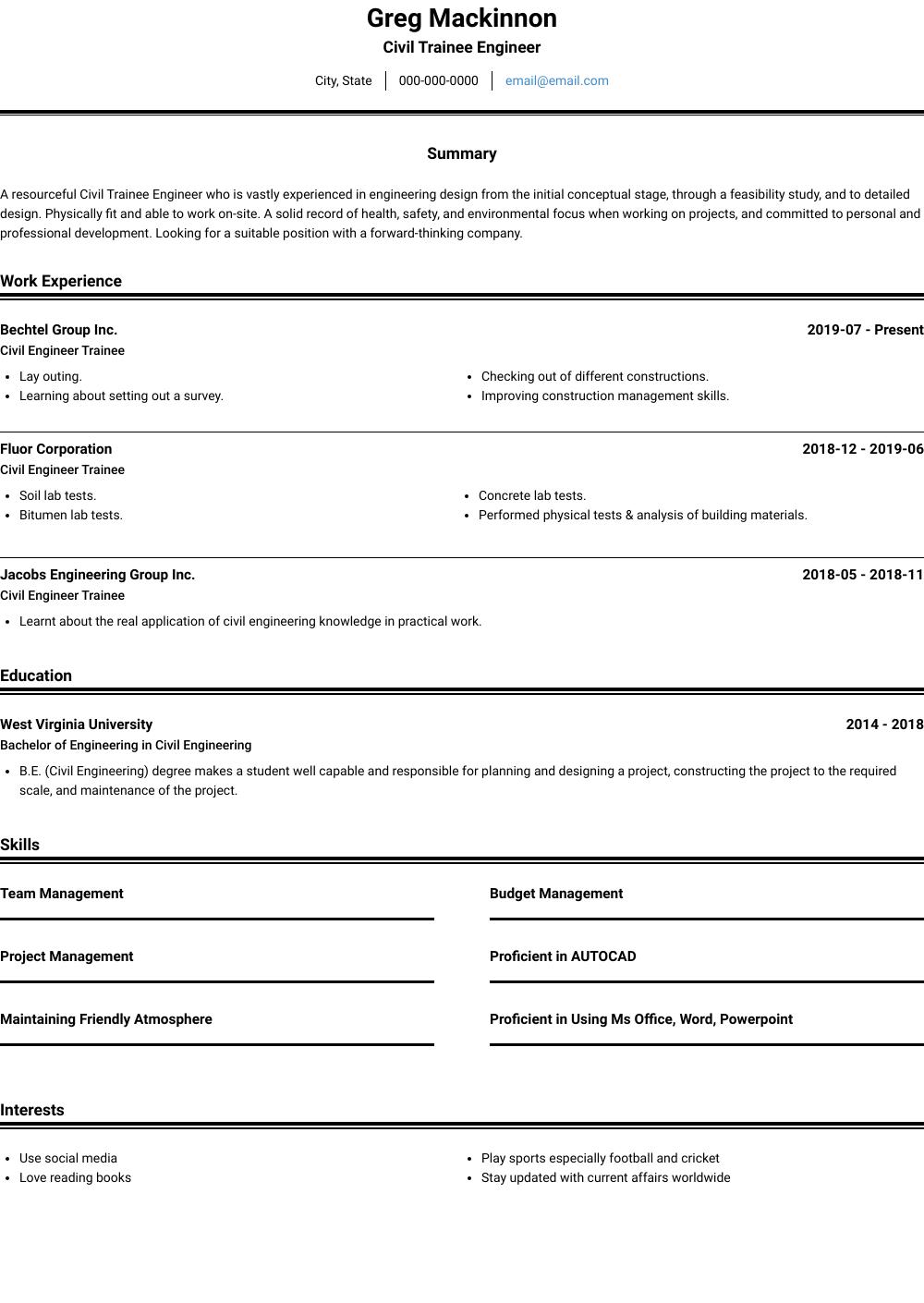 Trainee Engineer Resume Sample and Template