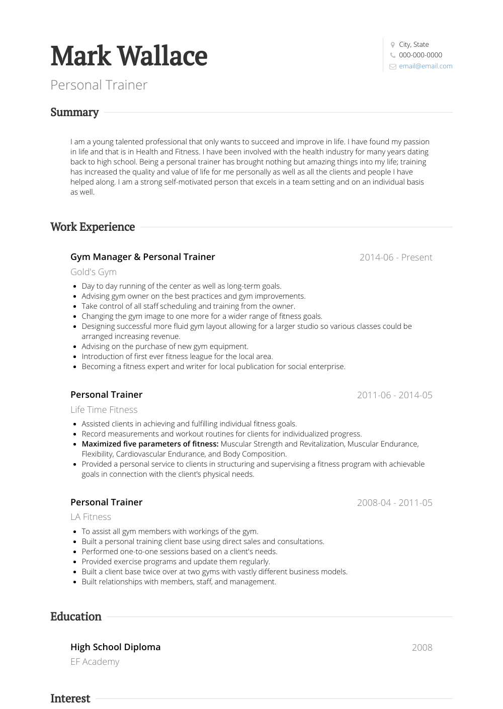 Personal Trainer Resume Sample and Template