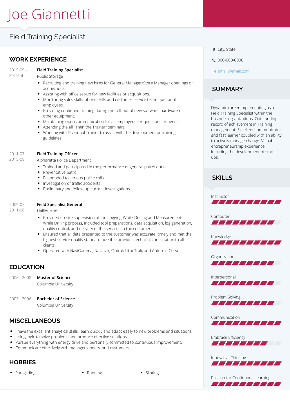 Field Training Specialist Resume Sample