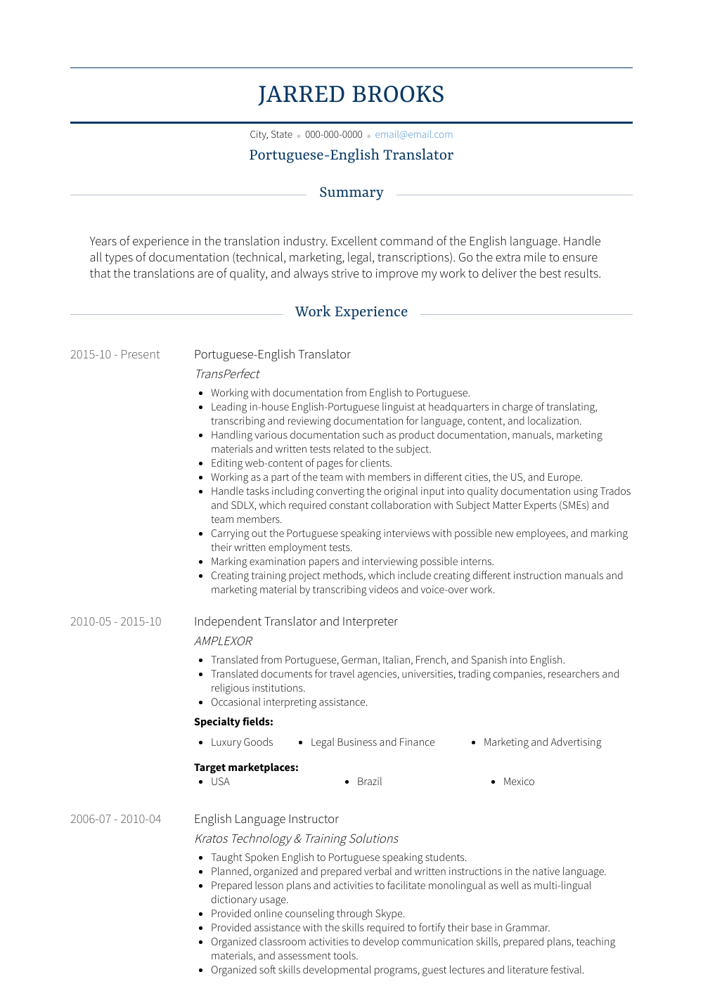 Translator Resume Samples Templates Visualcv