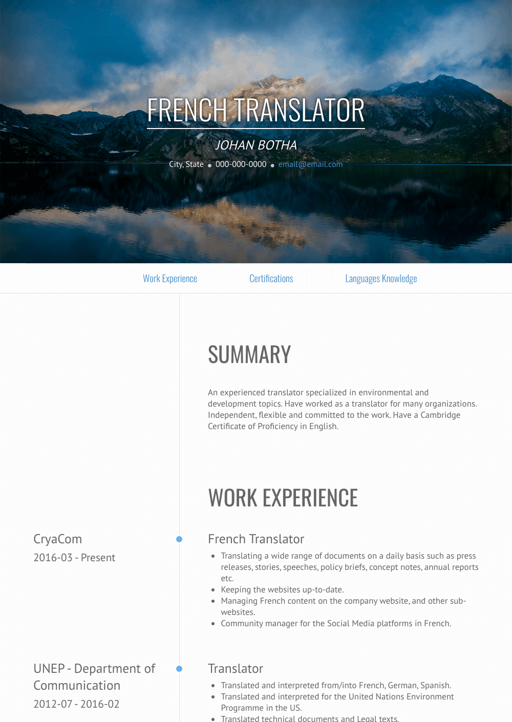 French Translator Resume Sample and Template