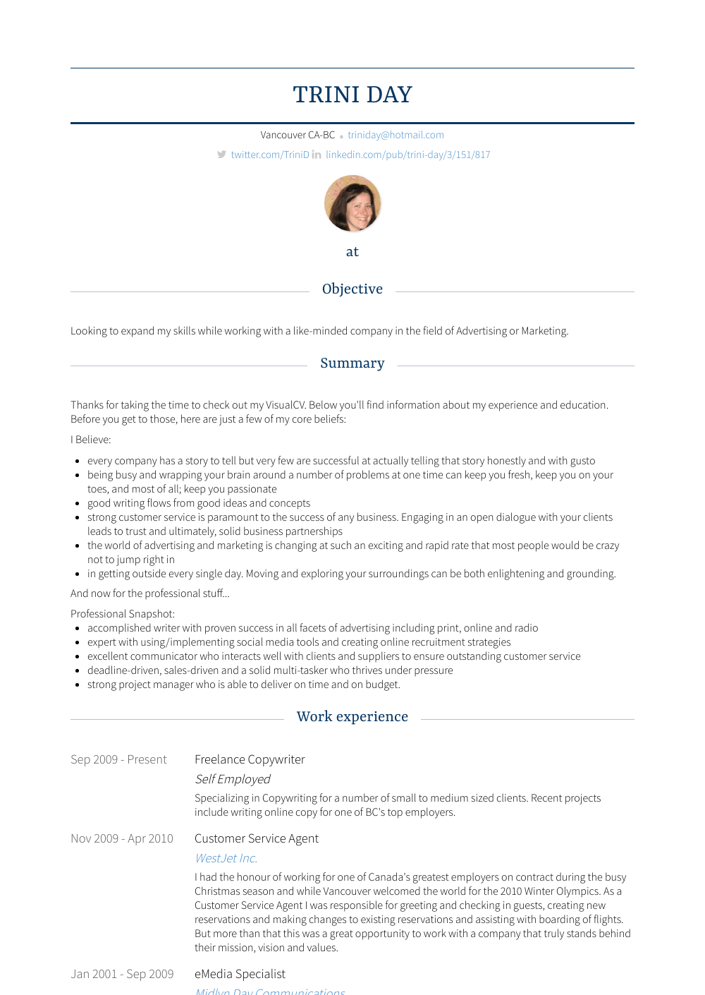 Copywriter Resume Samples Templates Visualcv