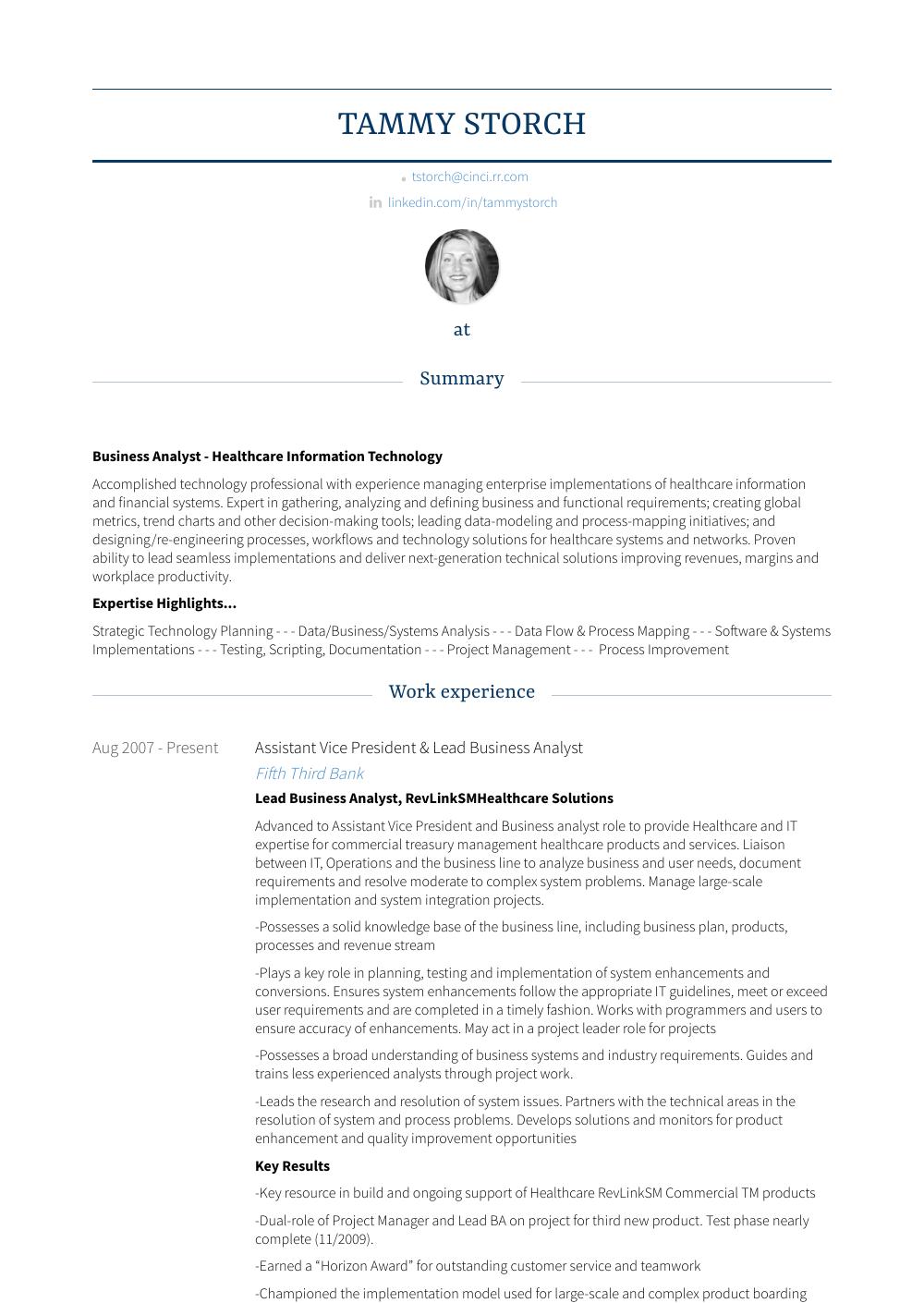 Assistant Vice President - Resume Samples & Templates | VisualCV