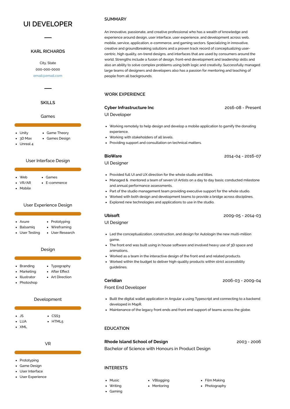 Ui Developer Resume Sample and Template