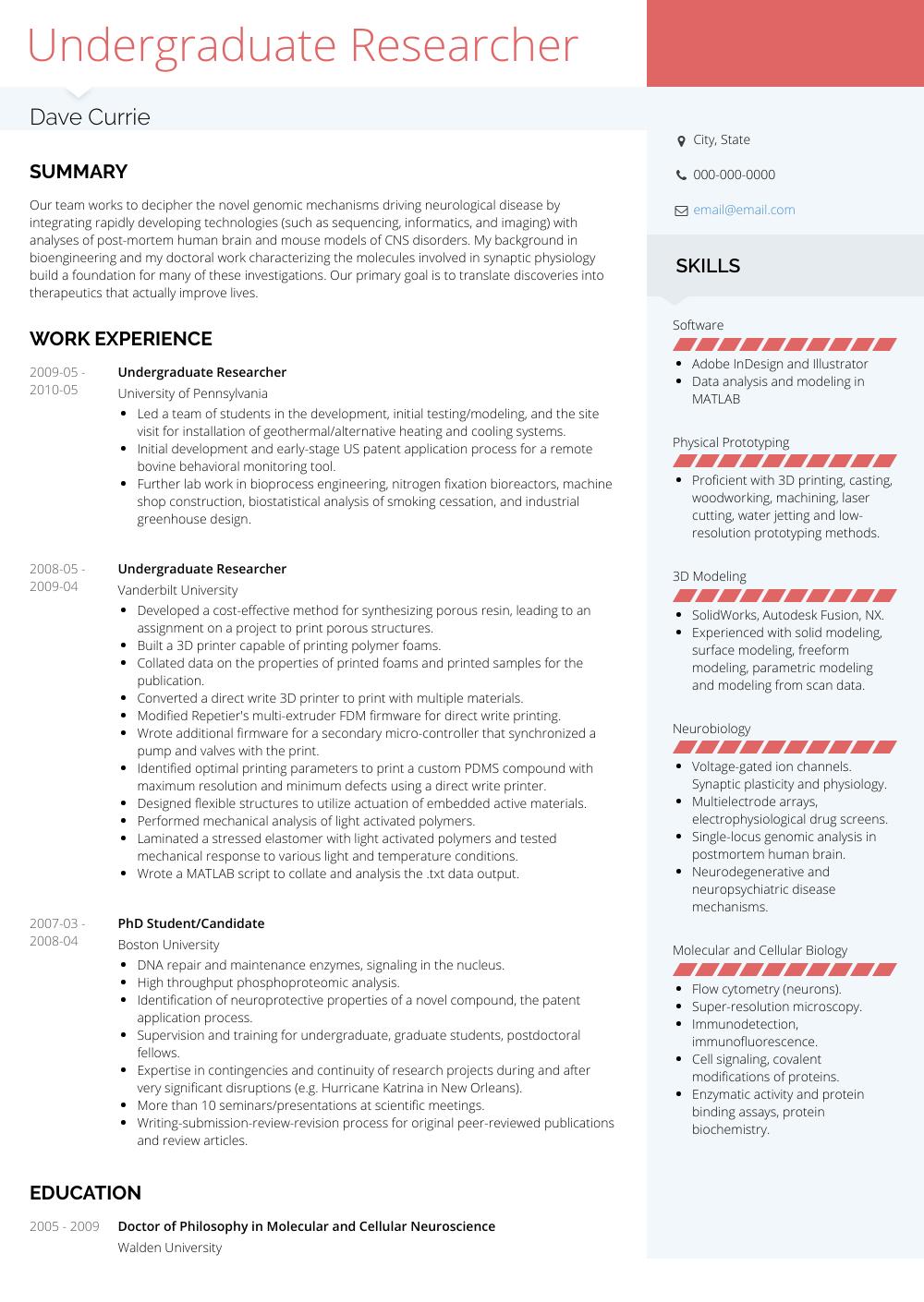 Undergraduate Researcher Resume Sample and Template