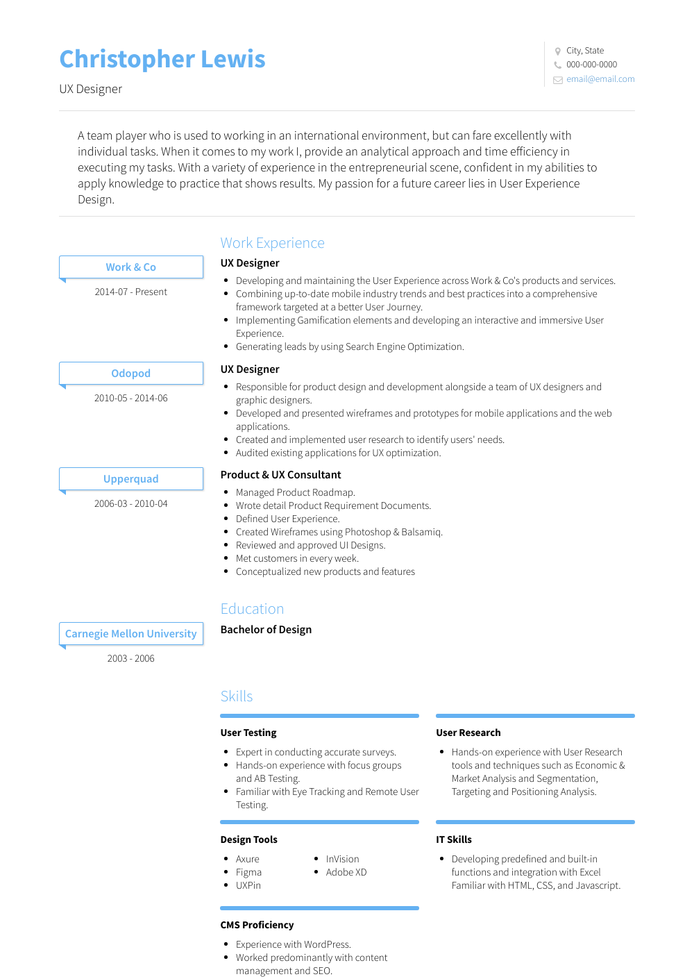 Ux Designer Resume Sample and Template