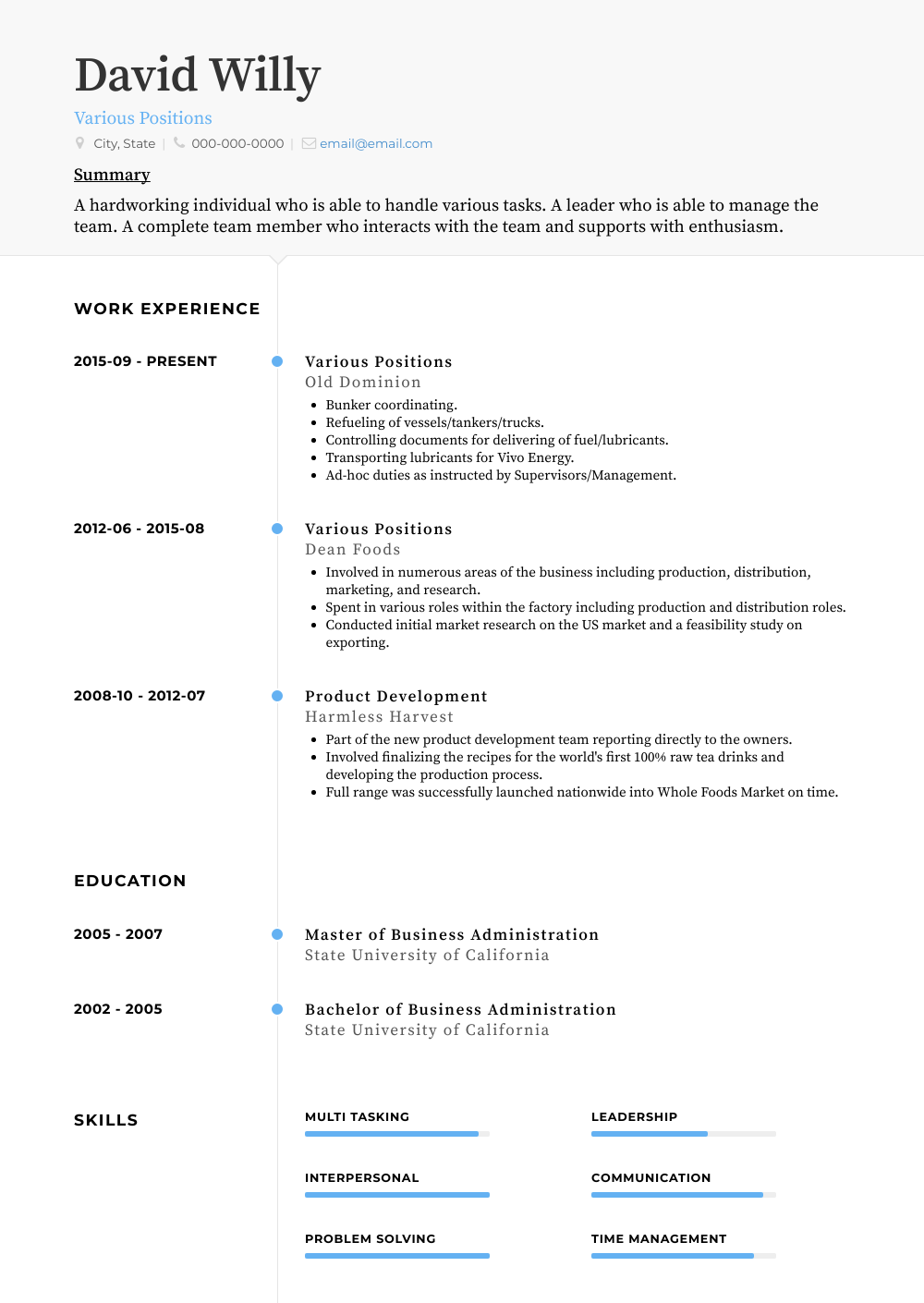 Various Positions Resume Sample