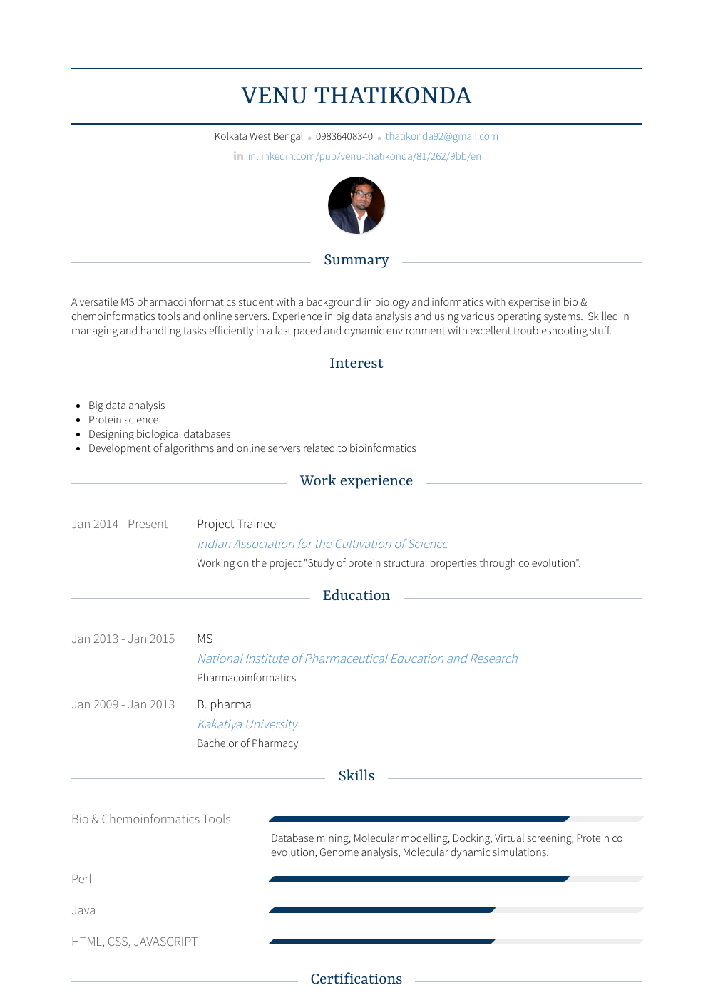 Project Trainee Resume Sample