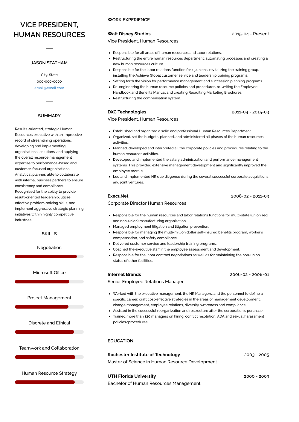 Vice President - Human Resources Resume Sample and Template