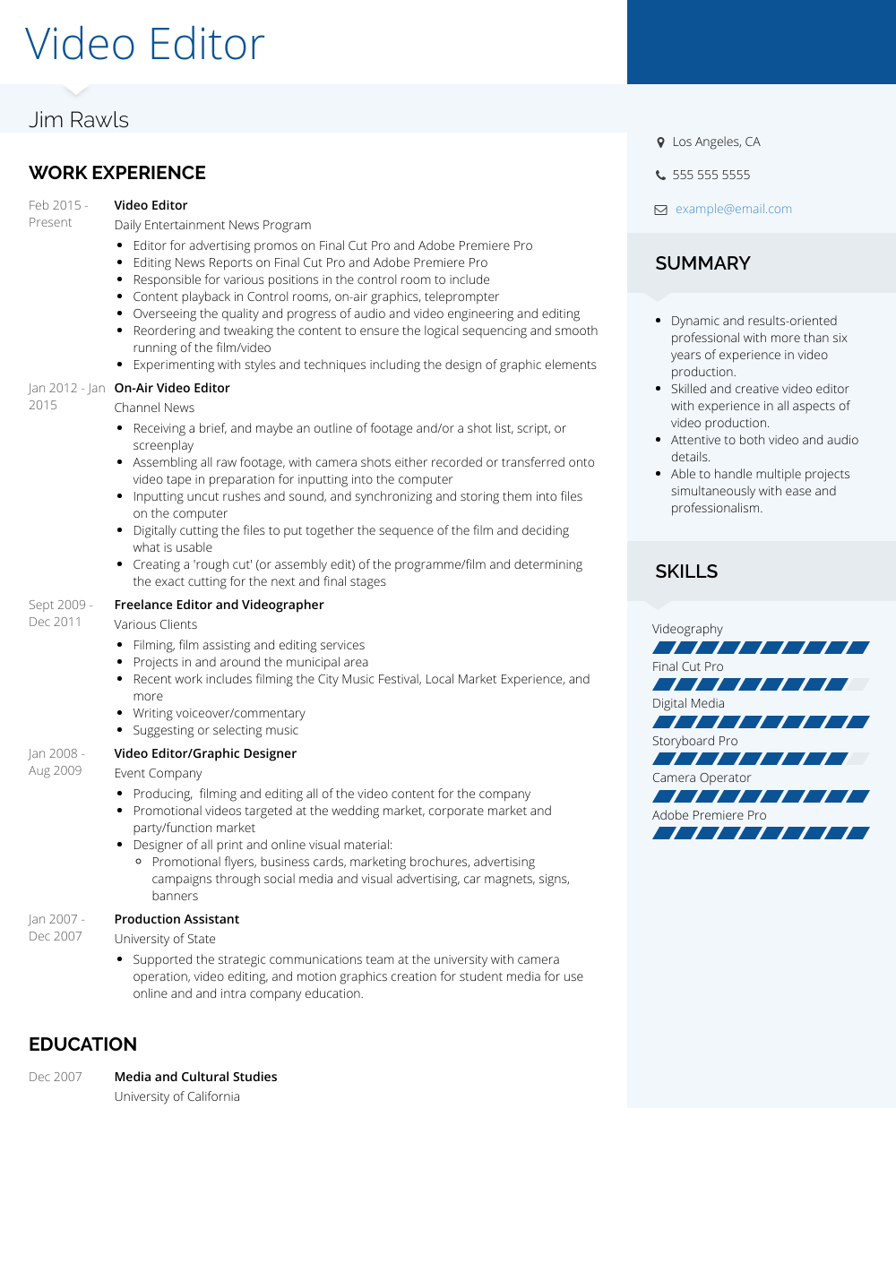 Video Editor Resume Sample and Template