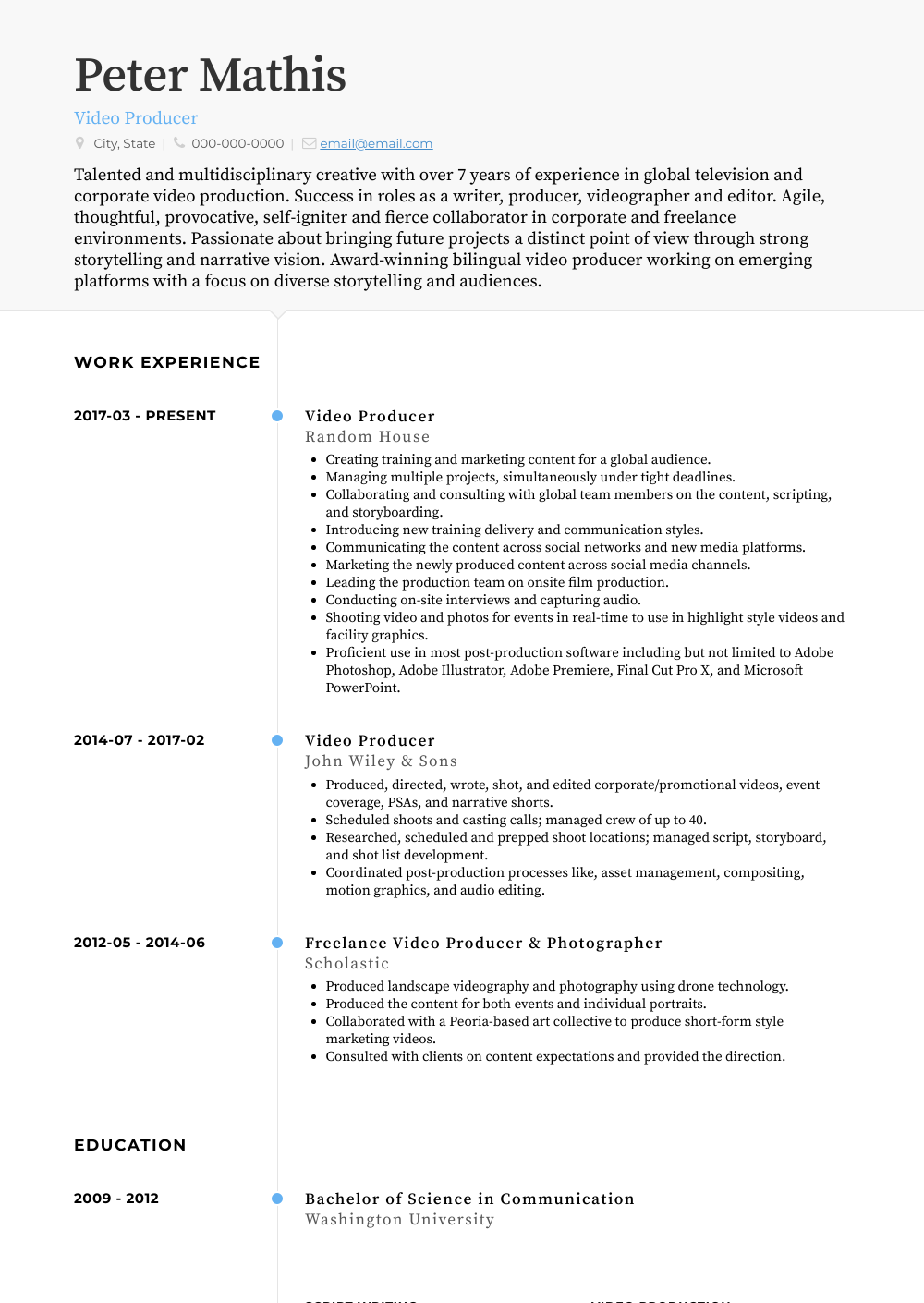 Video Producer Resume Samples And Templates Visualcv