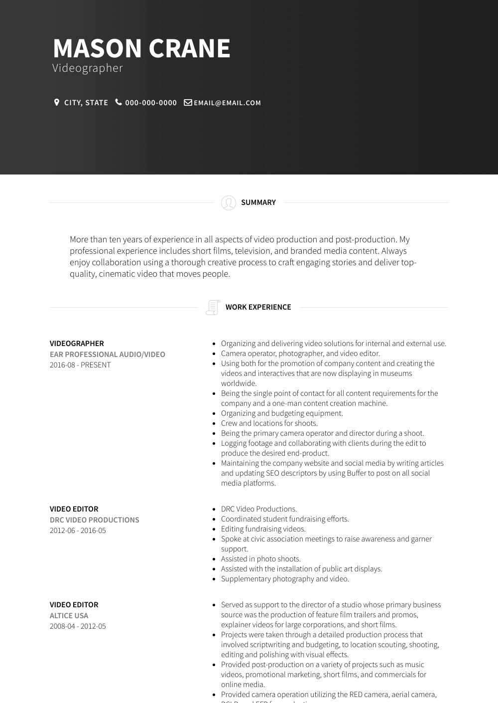 Videographer Resume Sample and Template