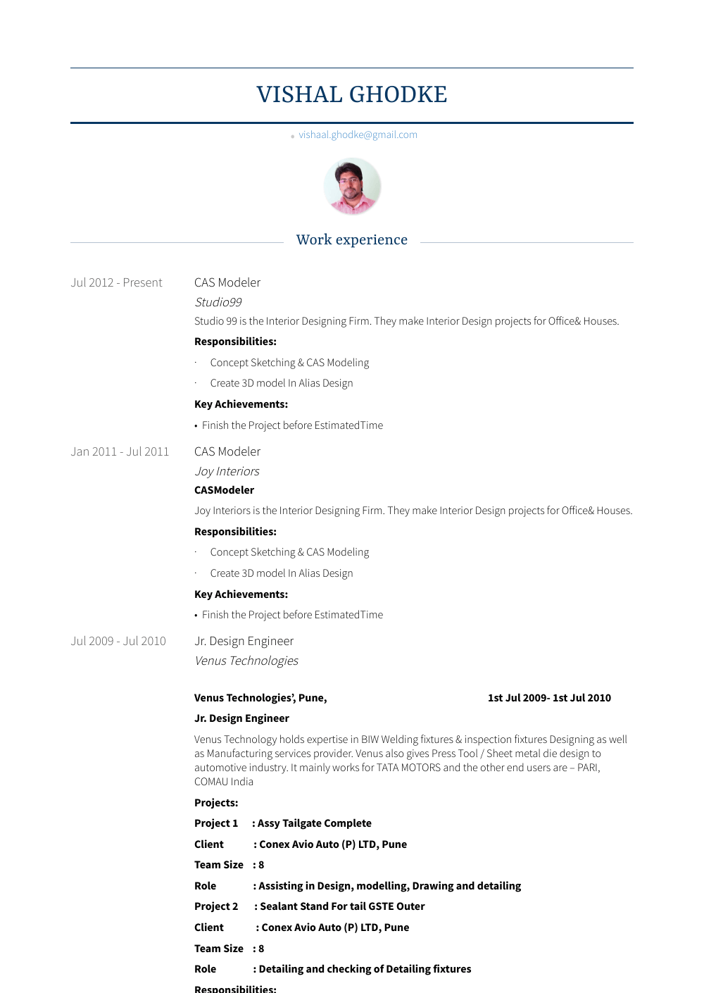 Modeler Resume Sample