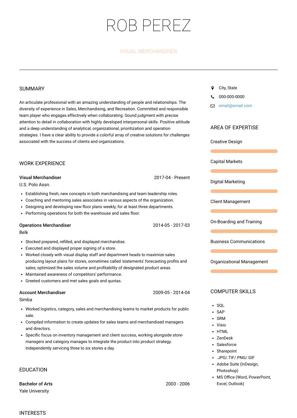 Visual Merchandiser Resume Sample and Template