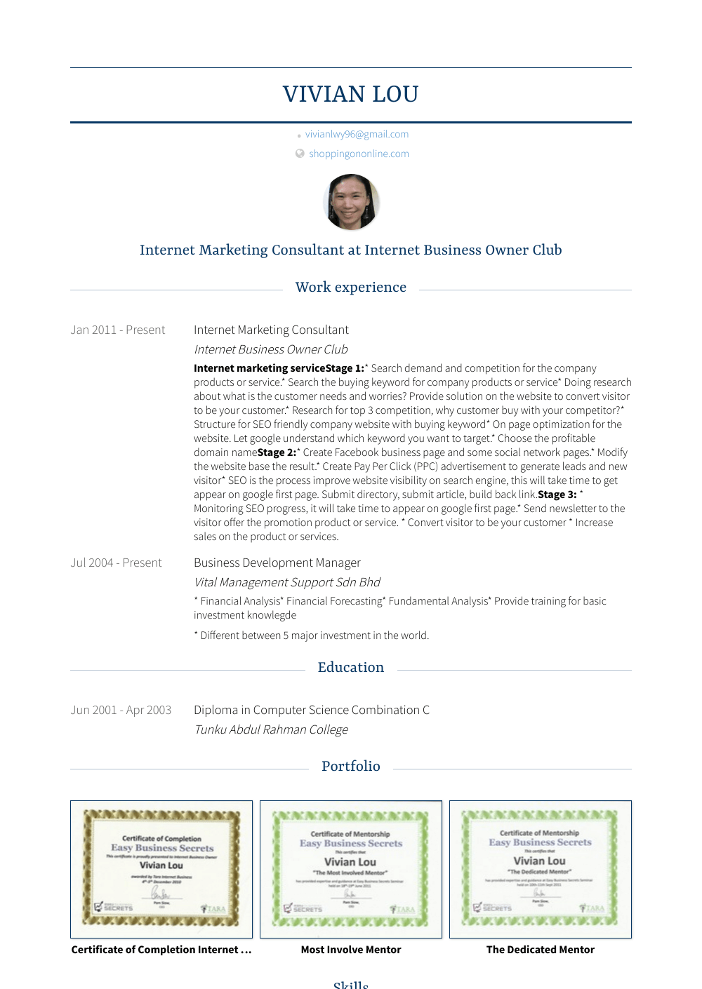 Internet Marketing Consultant Resume Sample and Template