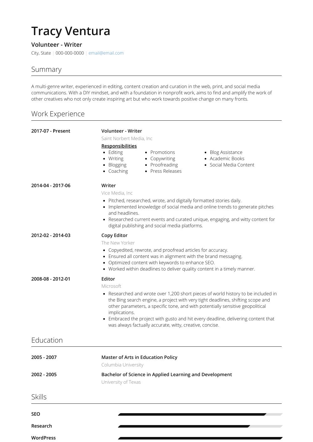 community volunteer resume sample