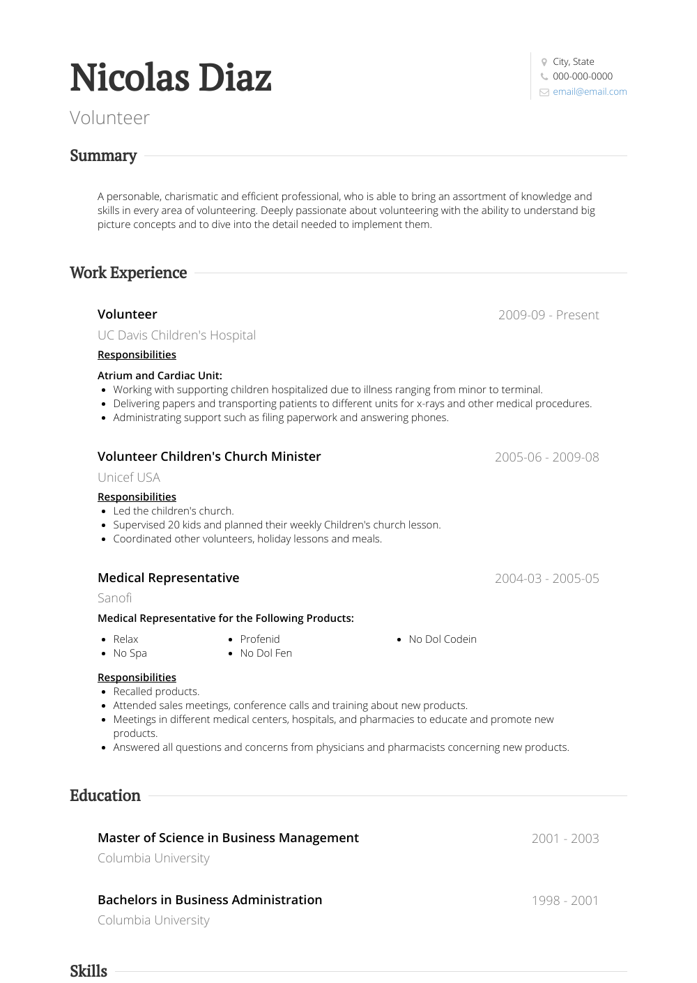 Volunteer Work Resume Samples And Templates Visualcv