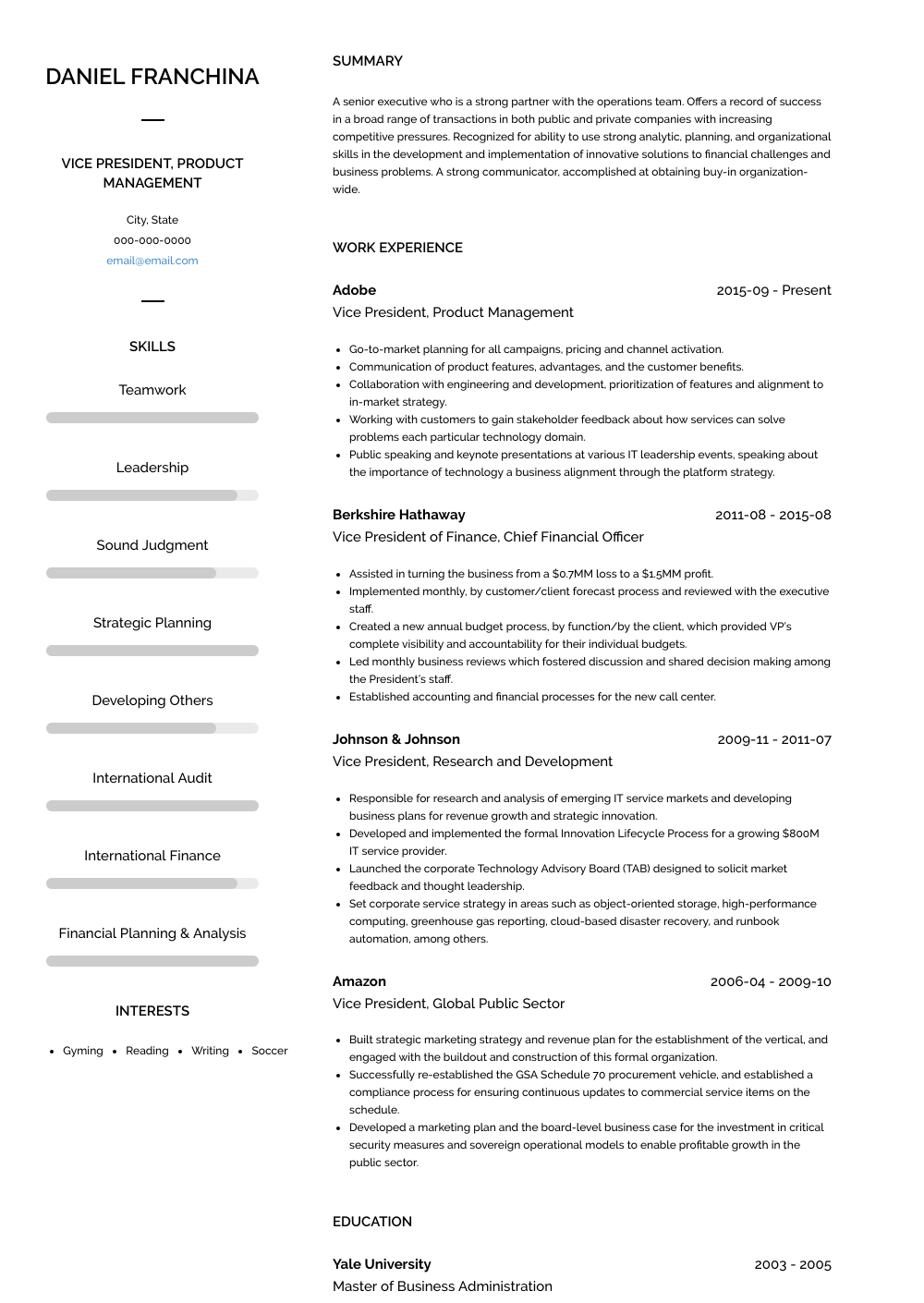 Vice President Product Management Resume Sample