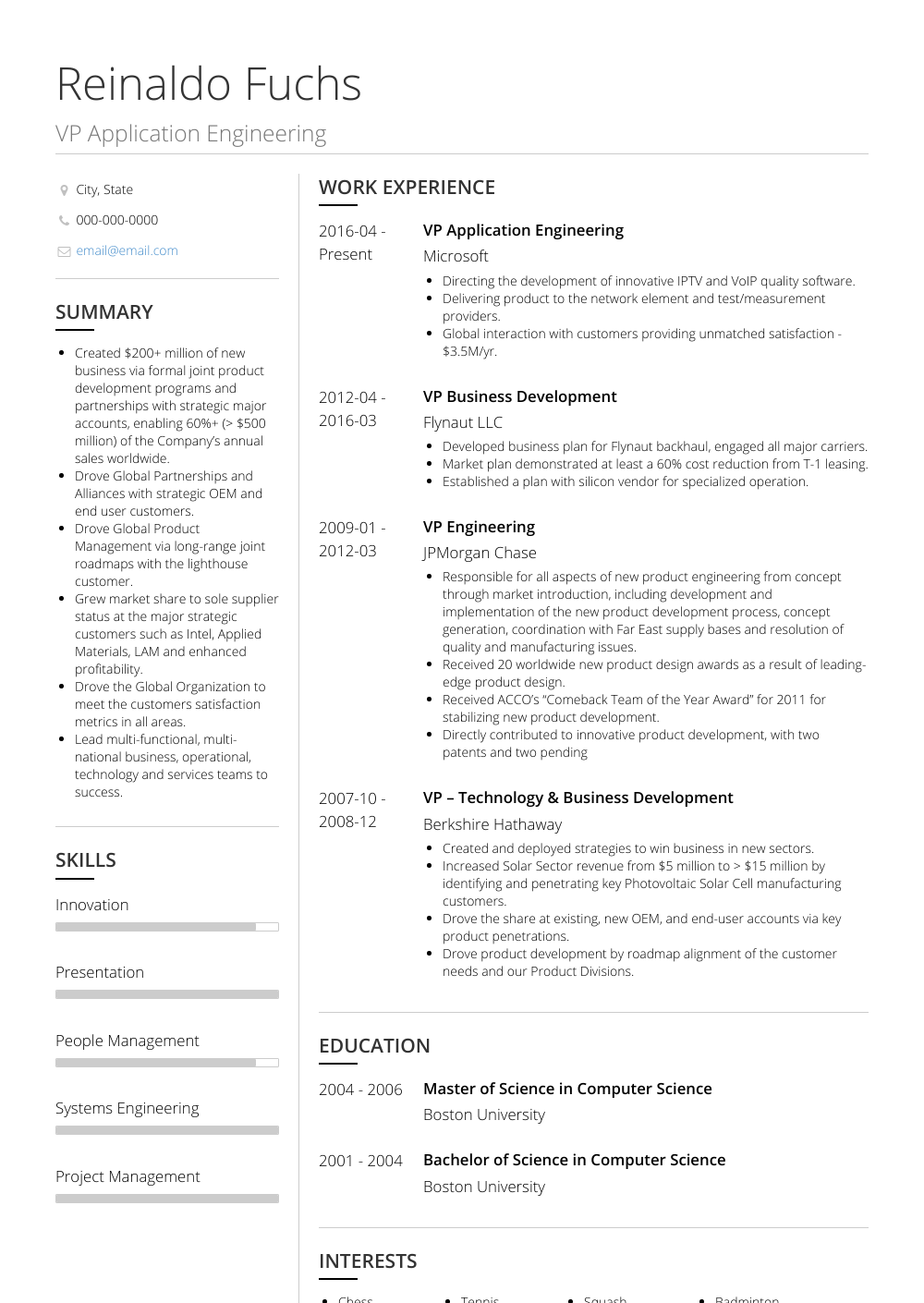 Vp Application Engineering Resume Sample and Template