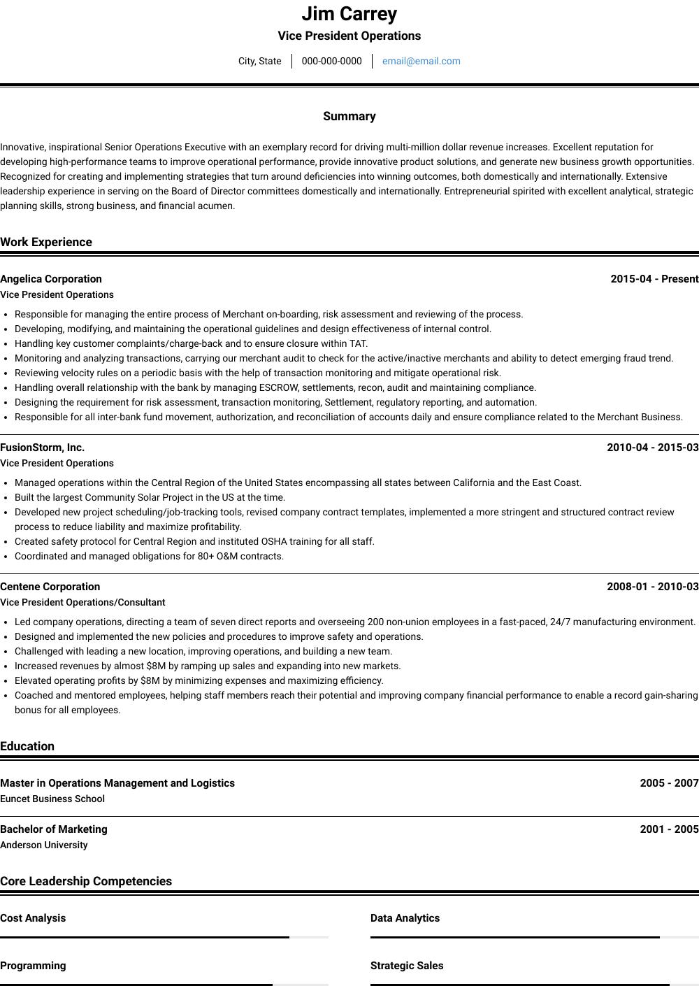 Vp Operations - Resume Samples & Templates   VisualCV