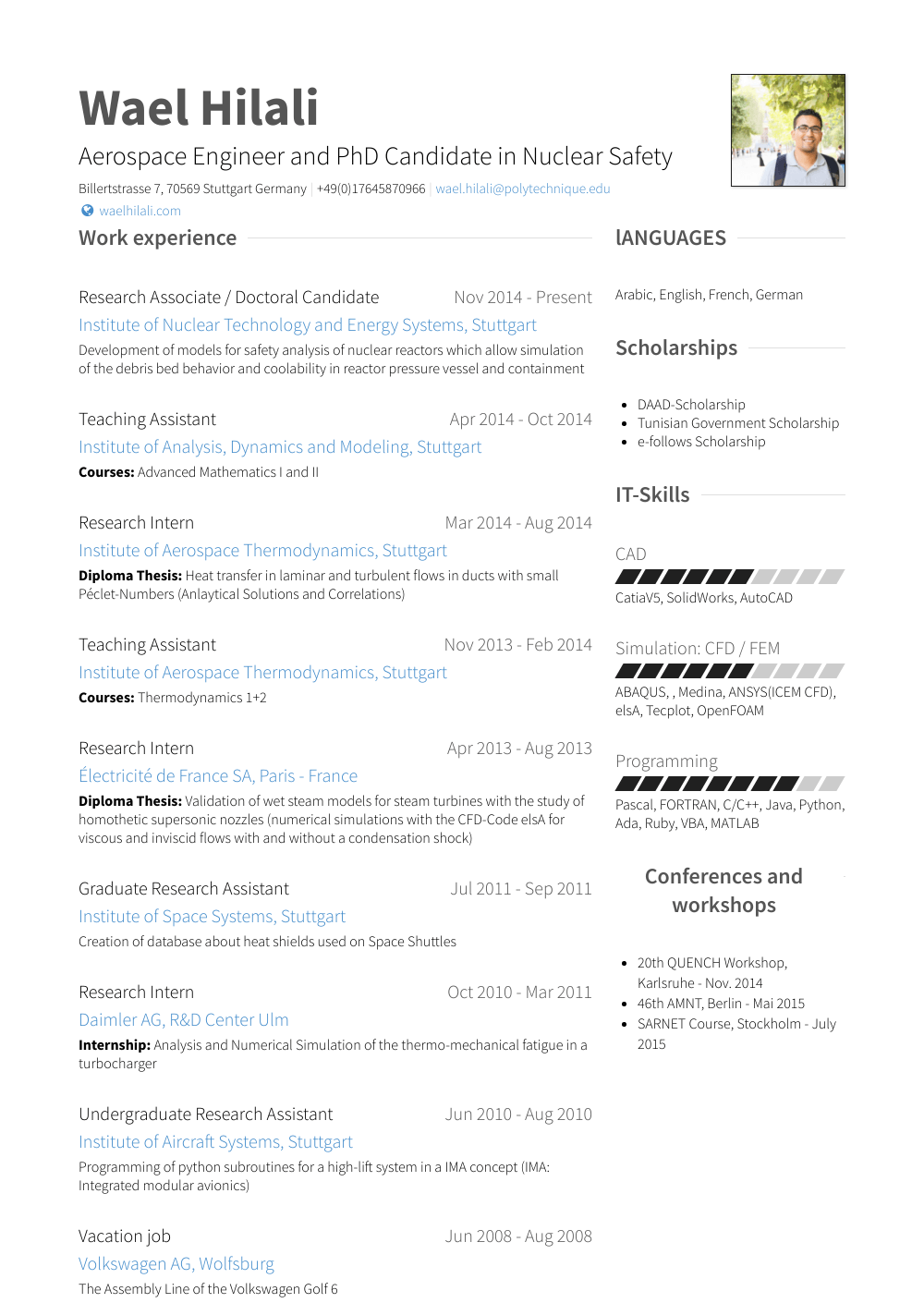 Phd resume post