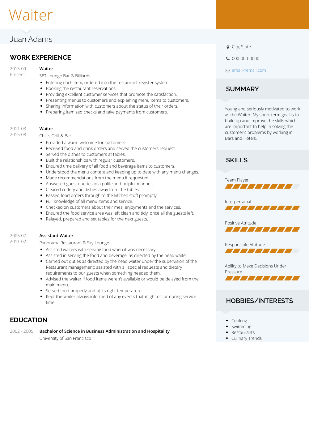 Waiter Resume Sample and Template