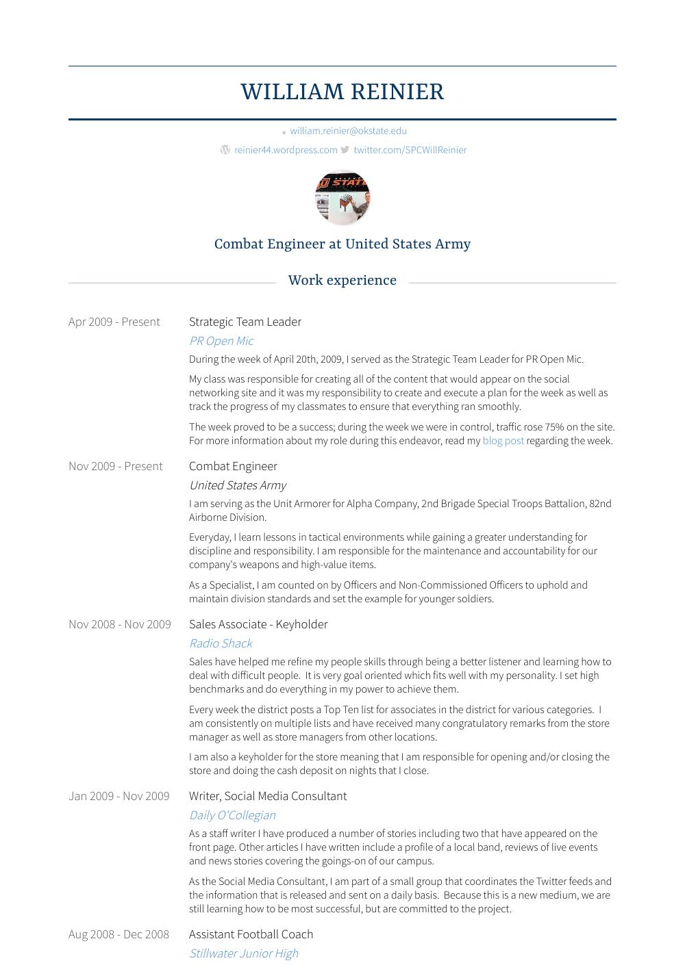 Combat Engineer Resume Sample