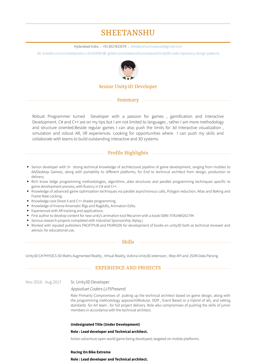 Animator Resume Sample