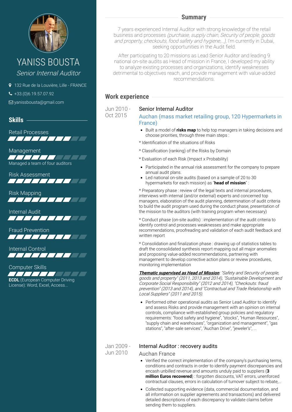 sample resume for internal auditor