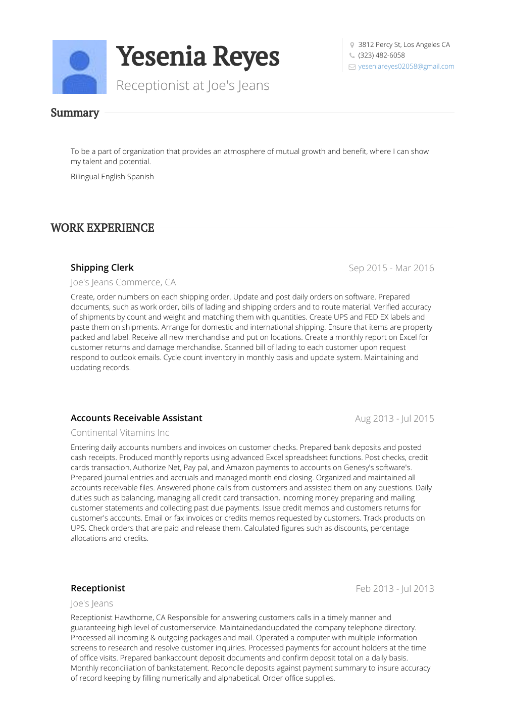 Shipping Clerk Resume Sample