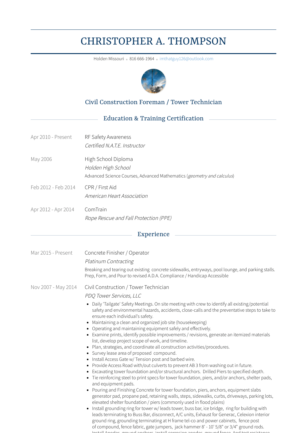 Concrete Finisher Resume Sample
